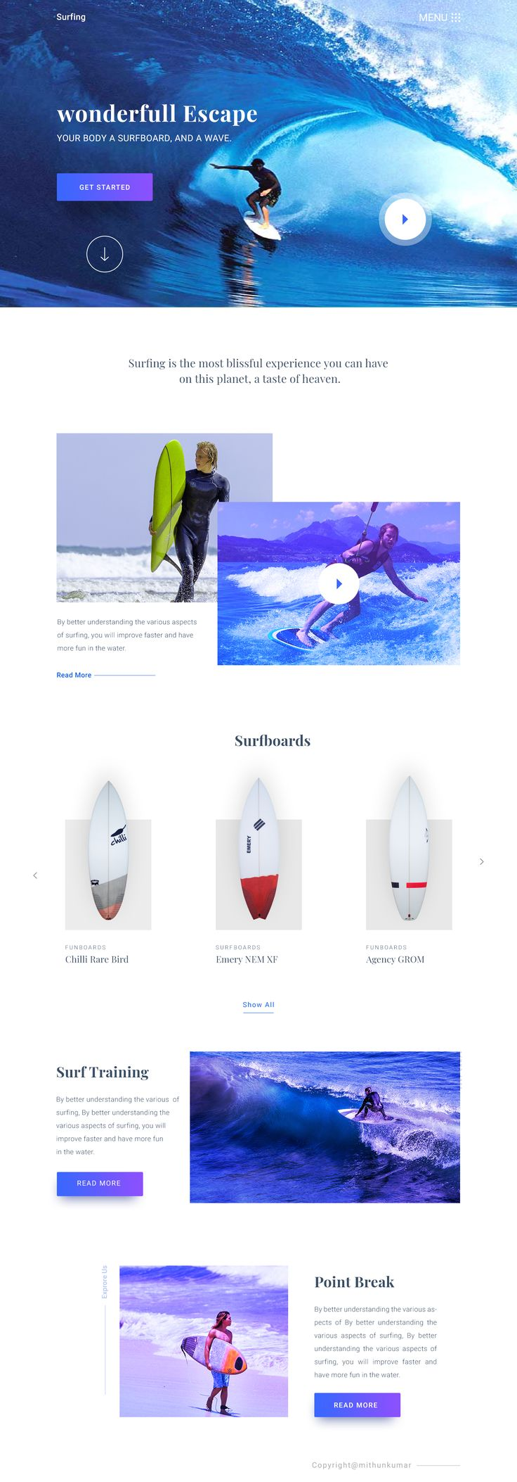 Surfing landing page Experiment