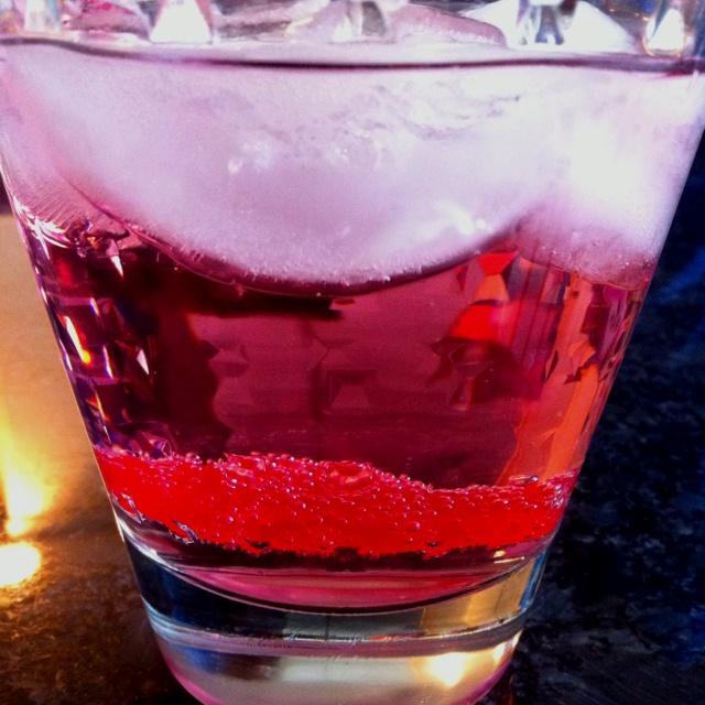 "Swedish Fish Martini  Pinnacle ""Gummy"" vodka, seltzer, splash of berry fruit juice, one Swedish Fish candy"