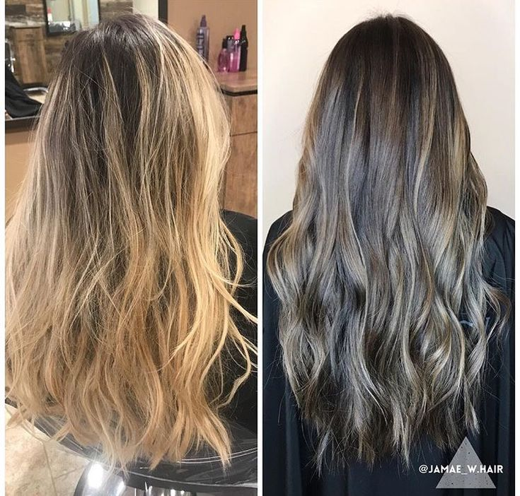 Before and after of my hair transformation! Blonde to Brown!  https://nancyhurtado.com