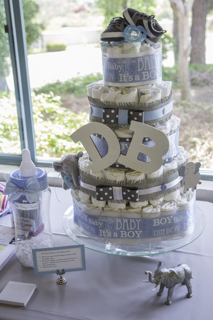 Diaper cake for a baby boy - Elephant theme, blue and grey