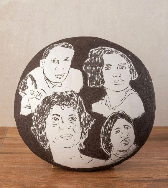 Ceramic Wall Art, Decorative Ceramic Art Plate, #housewares #homedecor @EtsyMktgTool #ceramicwallart #sgraffitotechnique #stonewareplate