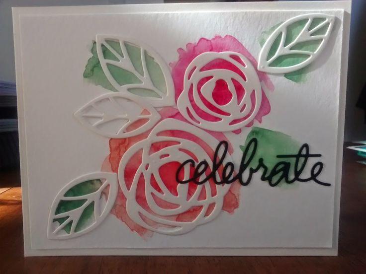 Beautiful Watercolored Card from the Cards with Flair blog using #EssentialsbyEllen dies. #PinSightsChallenge #ellenhutsonllc #ZipperPanel #BoldBlooms