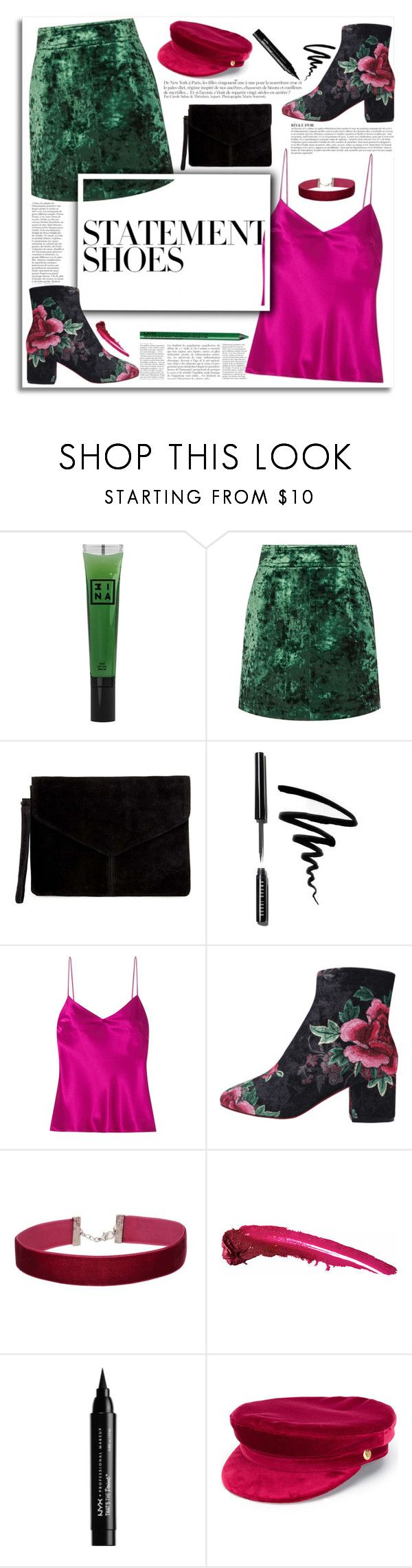"""""""TCS: Statement Boots"""" by tribecalledstyle ❤ liked on Polyvore featuring 3ina, Anja, Sandro, Miss Selfridge, Bobbi Brown Cosmetics, Galvan, NYX and Manokhi"""