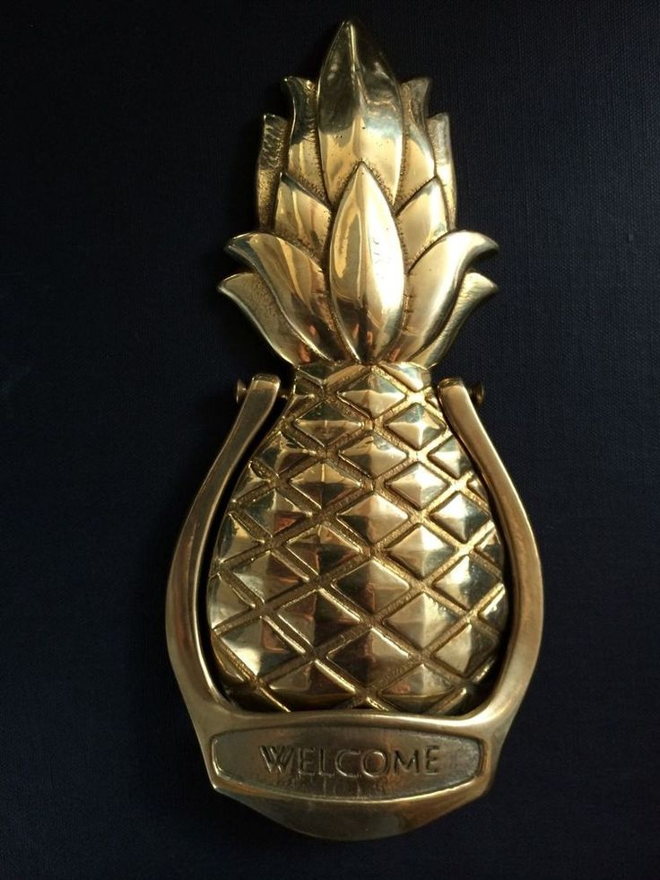 "Vintage Solid Brass Door Knocker – Pineapple design ""Welcome"""