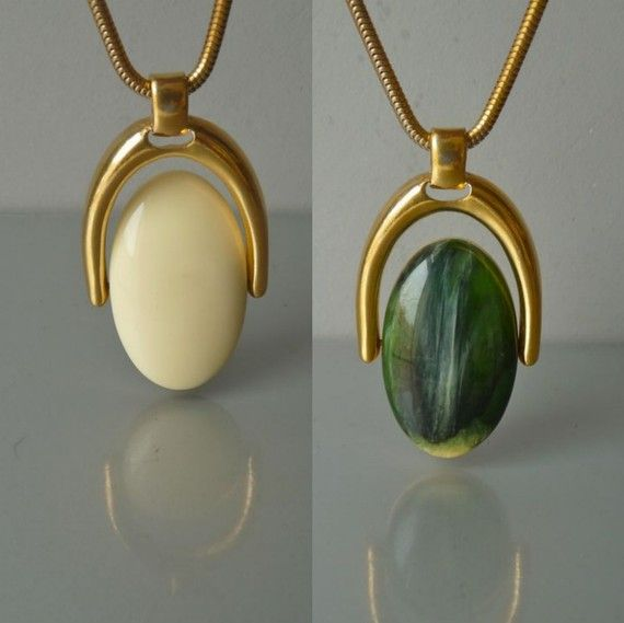 107 best costume jewelrywhy i love the 60s and 70s images on vintage trifari cream and green pendant necklace by mooivintage 22500 mozeypictures Gallery