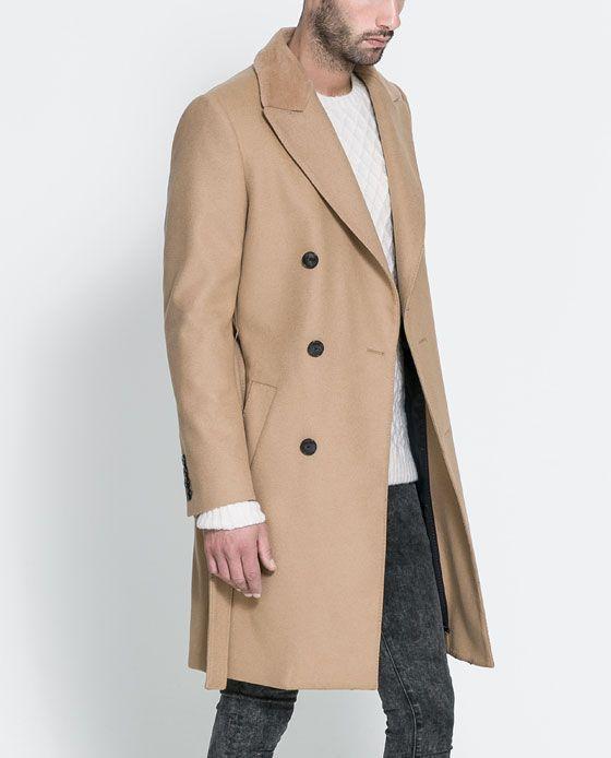 CAMEL COAT WITH FUR COLLAR from Zara