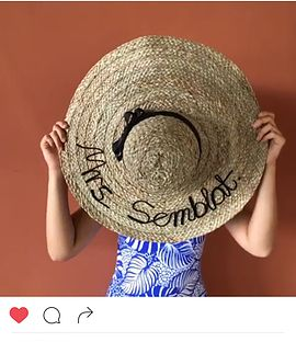 Custom handmade hats.  Great for a beach or resort vacation.   Hat for Isabelle Daza now Mrs Semblat!  Congratulations on your recent wedding.