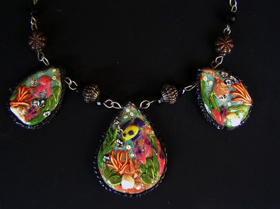 Original polymer clay jewelry polymer clay necklace by Feelingfimo, €100.00
