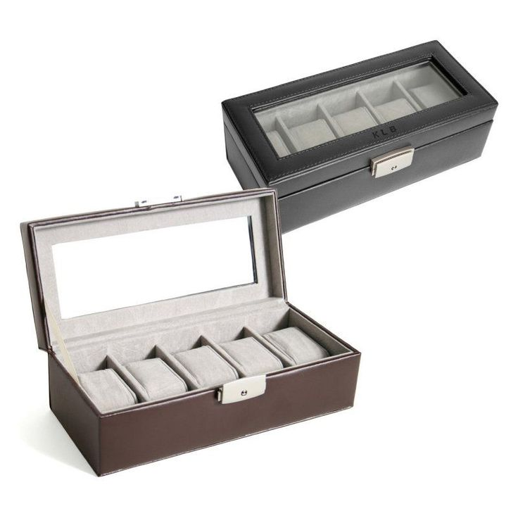 5 Slot Leather Watch Box with Optional Monogramming - 10W x 3H in. Black - 928-BLACK-6-PERS