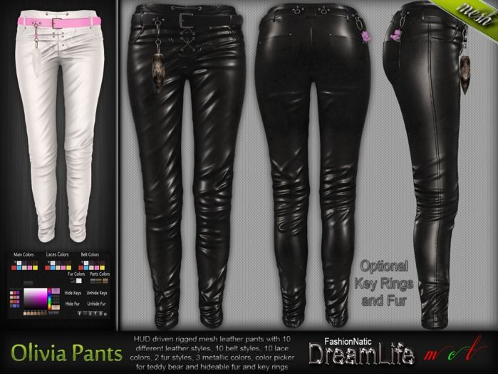 MESH Olivia Female Belted Leather Skinny Pants * Rigged (HUD Driven)  *DreamLife*