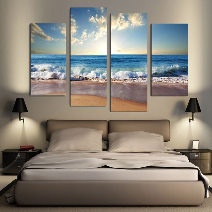beach seascape 4pcs combination painting printed on canvas frameless drawing home wall decor