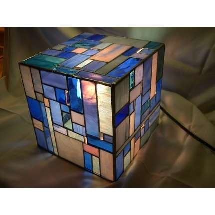 Stained Glass Light BoxGlasses Squares, Stainedglass, Table Lamps, Lamps Lights, Squares Tables, Tables Lamps, Glasses Lights, Glasses Lamps, Stained Glasses