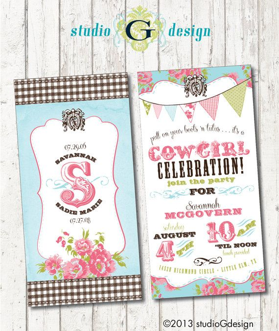 VINTAGE COWGIRL Birthday Party INVITATION -- Printable digital file or personalization for printing on Etsy, $35.00