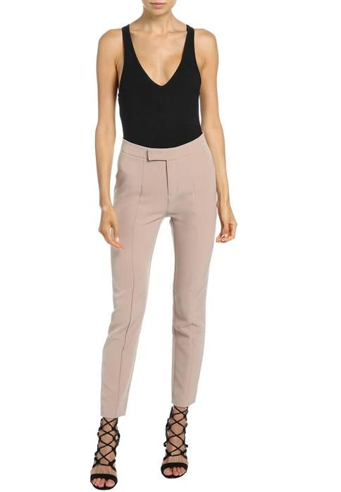 Every girl needs a classic cigarette pant in her wardrobe!The Super High Skinny pants feature a thick waist band with zip fly and hook and bar closure, darts for a fitted silhouette and slim fit leg.Couple with a bodysuit for a sophisticated desk to dinner look!Model is wearing a size 10 and is 174cm tall.Fabric Content: 95% Polyester, 5% Elastane