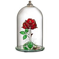 Beauty and the Beast Enchanted Rose Glass Sculpture by Arribas - Largo 65$