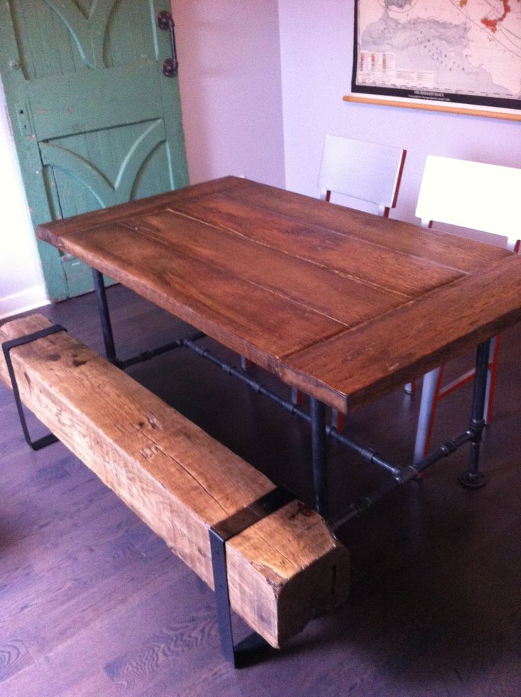 rustic kitchen table with bench 3