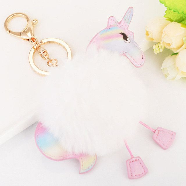 2 Color Fluffy Unicorn Keychain Pompom Rabbit Fur Key Chain Chaveiro Pony Key Ring Holder Hang Bag Charm Pendant Car Accessories