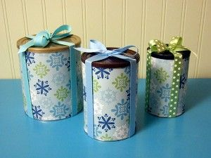 Recycled canisters - cute gift wrapping! These would be great for giving baking.