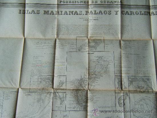 Mapas contemporáneos: POSESIONES DE OCEANIA. ISLAS MARIANAS. PALAOS Y CAROLINAS. ATLAS DE ESPAÑA...-80x110 CM-COELLO- 1852 - Foto 1 - 30419451