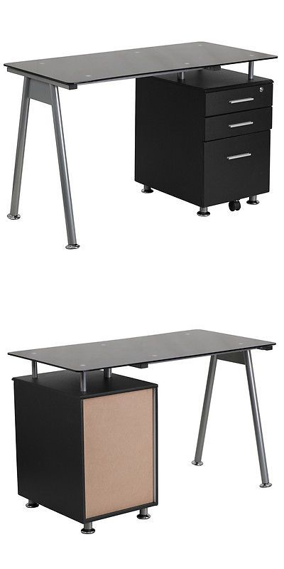 Office Furniture: Details About Black Glass Computer Desk With Three Drawer Pedestal BUY IT NOW ONLY: $165.0