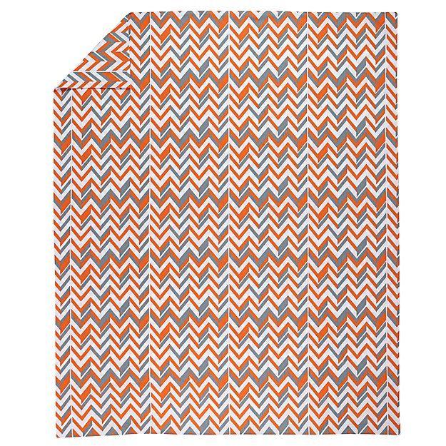Little Prints Kids Duvet Cover (Orange Zig-Zag)   The Land of Nod
