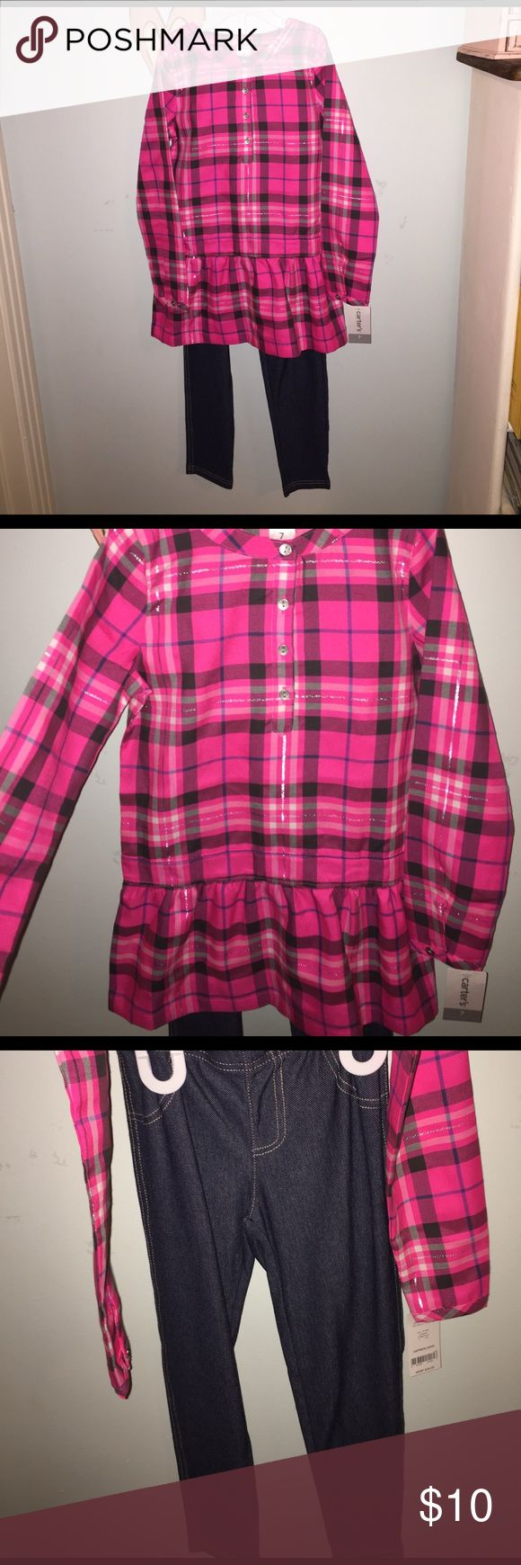 Girls 2 piece outfit NWT Girls 2 piece outfit NWT. CARTERS size 7. Pink plaid Shirt with jeggings! Easy spring outfit for any little girl! Carter's Matching Sets