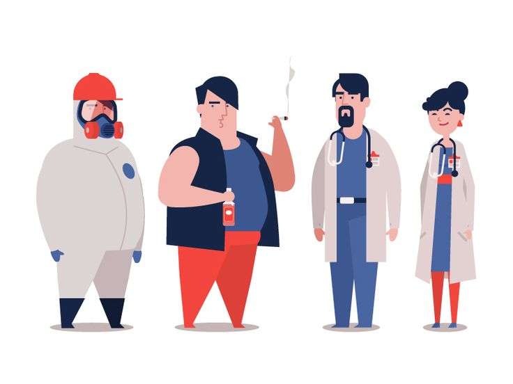 These characters are for an animation which is about Canadian's health conditions. Client: medical school.