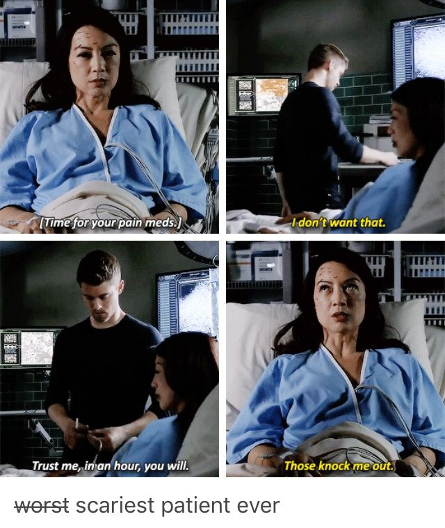 The scary patient. Momma May is scary even in the hospital bed. Agents of Shield.