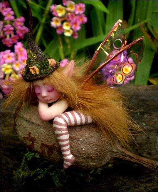 Tiny Chubbly Bub Faery Fairy Fungi Woodland by Celia Anne Harris OOAK art doll