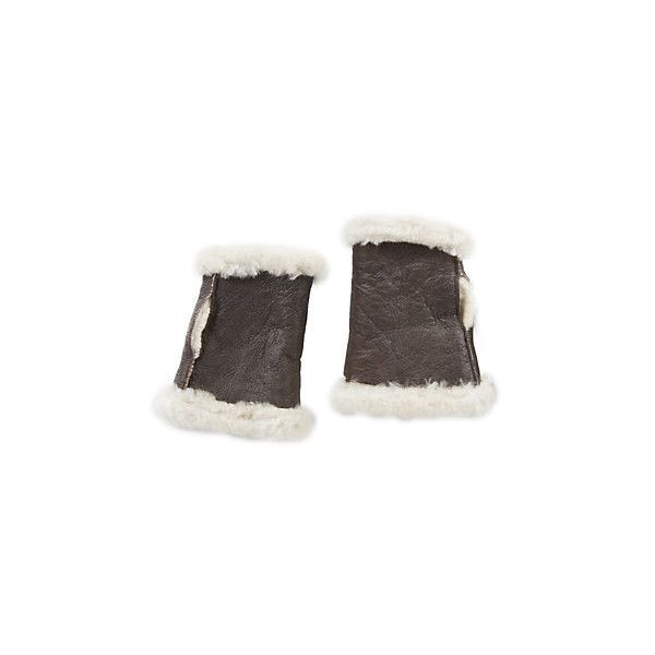 B-3 Sheepskin Fingerless Gloves ($29) ❤ liked on Polyvore featuring accessories, gloves, fingerless gloves, sheepskin fingerless gloves and sheepskin gloves