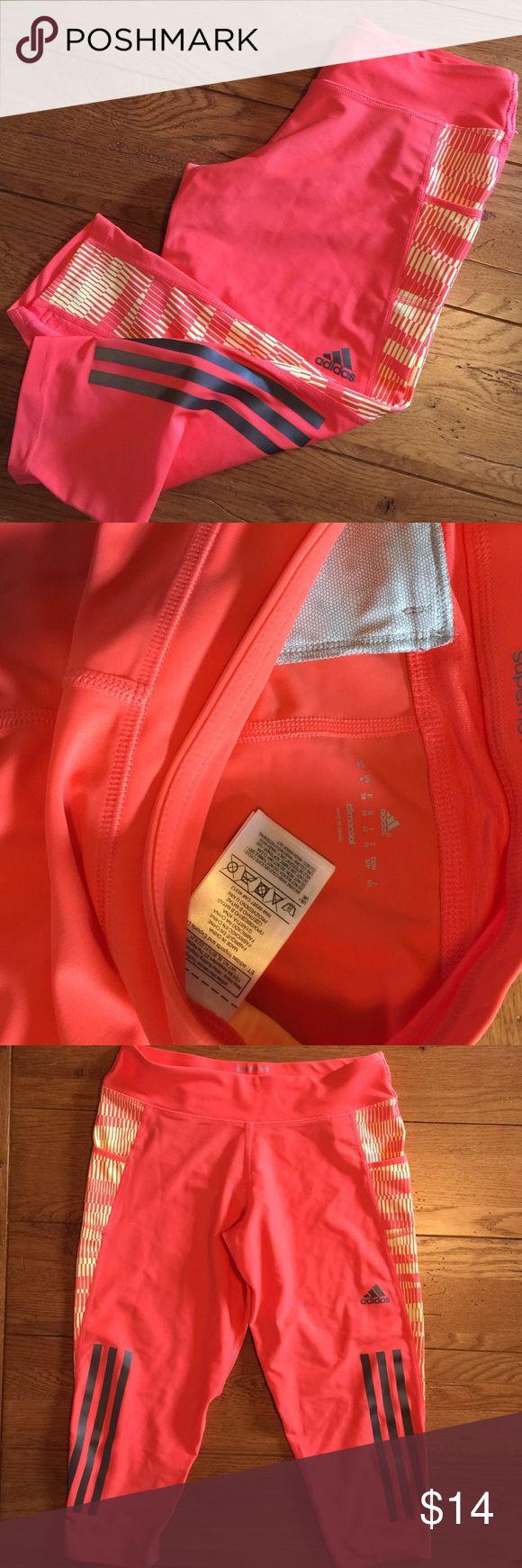 🍁ADIDAS Climacool Capri Leggings🍁 🍁Adidas..Climacool-SuperNova Capri Leggings..Orange and Yellow accents ..Zip pocket on back of band..Size Small..Like NEW condition 🍁 Adidas Pants Leggings