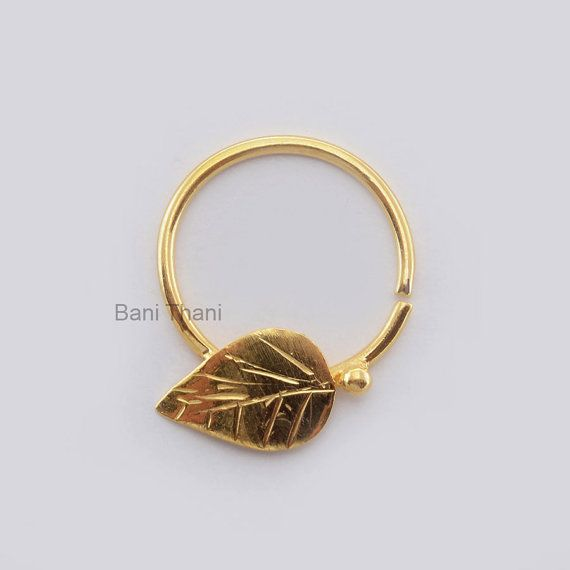 Handmade Leaf Gold Plated 925 Sterling Silver Nose by BaniThani