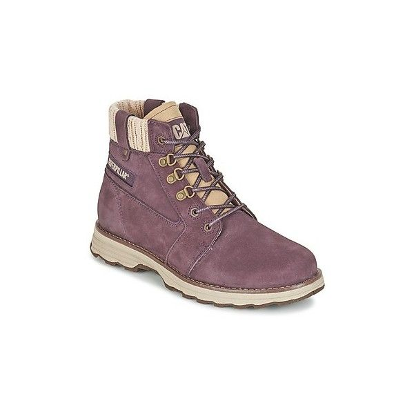 Caterpillar CHARLI Mid Boots ($170) ❤ liked on Polyvore featuring shoes, boots, purple, rubber shoes, caterpillar boots, mid boots, caterpillar shoes and mid calf boots