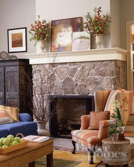 1000 images about fireplace decor ideas on pinterest for Country stone fireplace