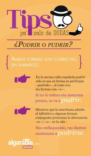 ¿Podrir o pudrir? ✿ Spanish Learning/ Teaching Spanish / Spanish Language / Spanish vocabulary / Spoken Spanish ✿ Share it with people who are serious about learning Spanish!