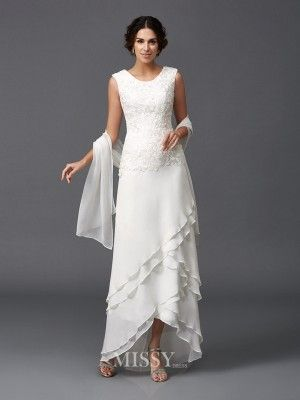 A-Line/Princess Scoop Sleeveless Ankle-Length Chiffon Mother Of The Bride Dress with Lace - MissyGowns