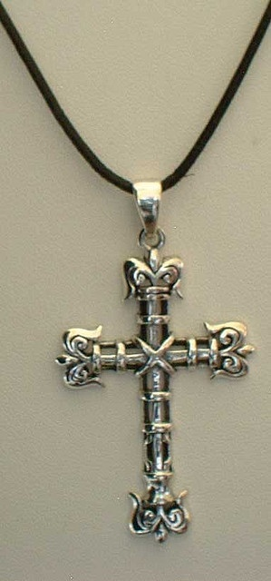 cross necklace with leather necklace     Fashionably