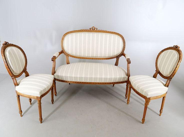 Salongruppe Sofa 2 Sessel Biedermeier Um 1900 900e