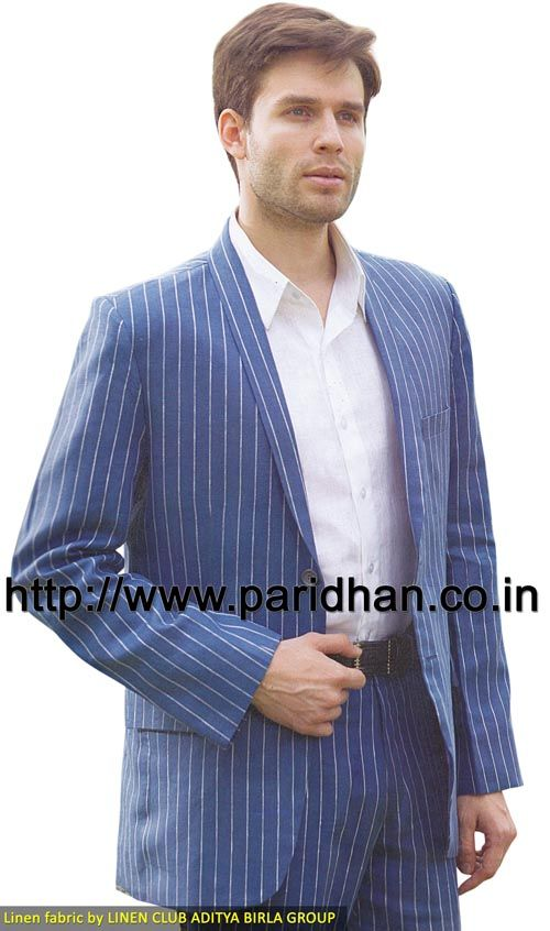 Perfect look linen suit made in royal blue color pure linen fabric. It has bottom as trouser made in same color fabric. Dryclean only.