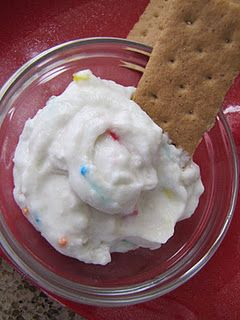 Funfetti cake batter dip. Dry cake mix + yogurt + whipped cream.