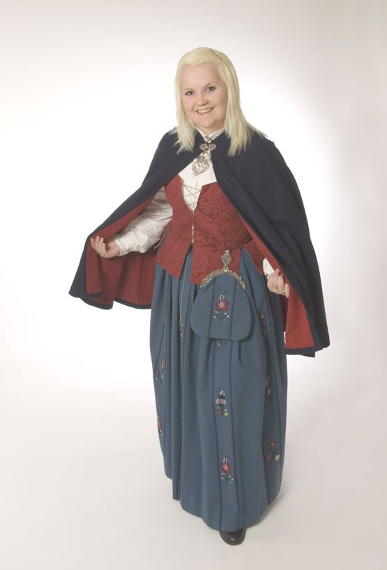 Norwegian 'bunad'. Hedmark 55- model. I have the blue version of this; both the top and the skirt is in blue.