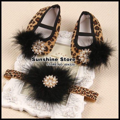 Sunshine store #2B1916 3set/lot Baby girls Vintage diamond/pearl Ballerina  Booties&feathers headband Set Leopard Shoes set CPAM