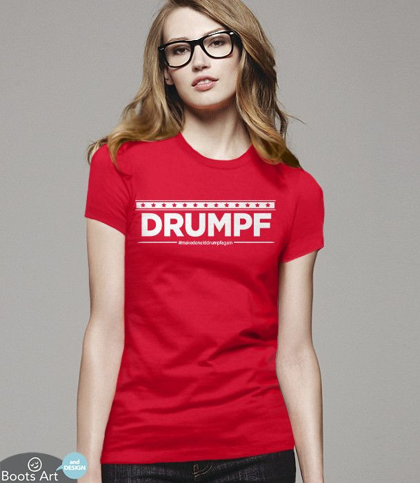 Funny Anti Trump T-Shirt | John Oliver has so cleverly started this campaign to #makedonalddrumpfgain. Shirt Pictured: Red Women's Tee.