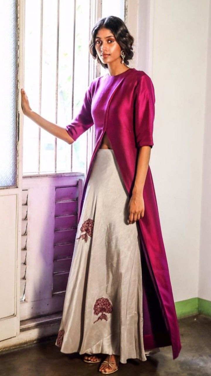 51880ef423 Beautiful Hand Embroidered Butis Skirt with long jacket blouse ...