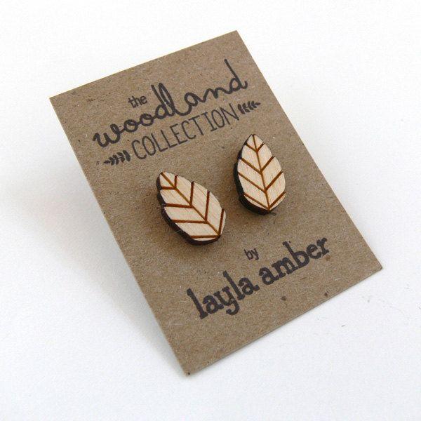 NEW - Wooden Leaf Stud Earrings. £5.50, via Etsy.