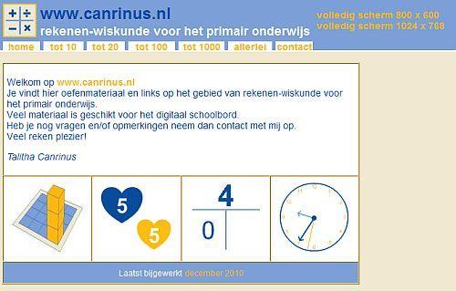 Op www.canrinus.nl staan allerlei oefeningen die je via het digibord kunt gebruiken voor het automatiseren bij rekenen.