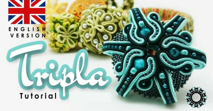 """Tripla"" pendant - free tutorial of 3D soutache, Tender Decemer for Royal Stone http://blog.royal-stone.pl/soutache-3d-tutorial-tender-december-2/"