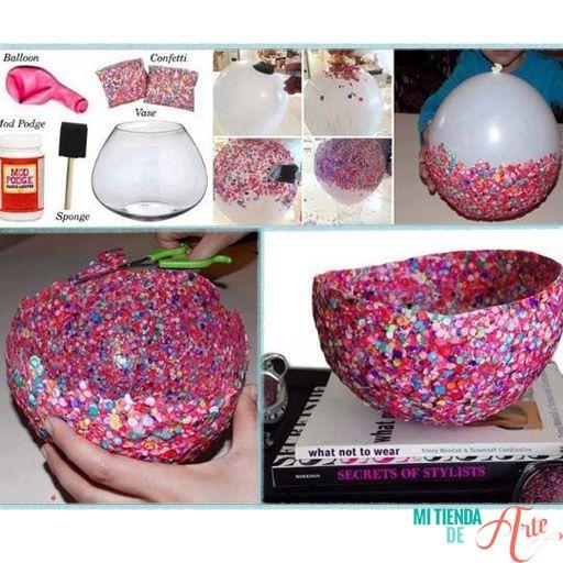 DIY Jarrón hecho a mano con globo y confetti.
