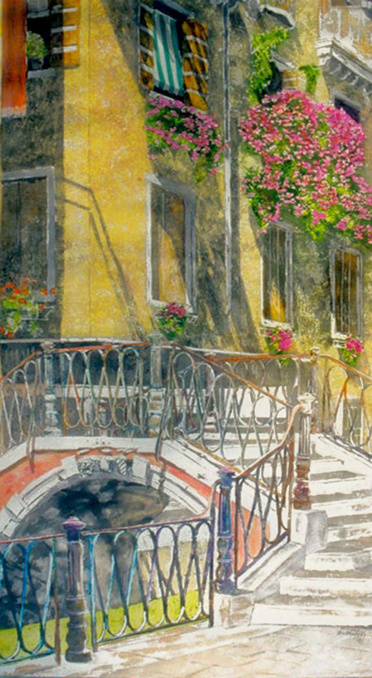 """bridge over Rio Greci venice 40"""" x 20"""" micheal zarowsky / watercolour on arches paper / available $2500.00"""