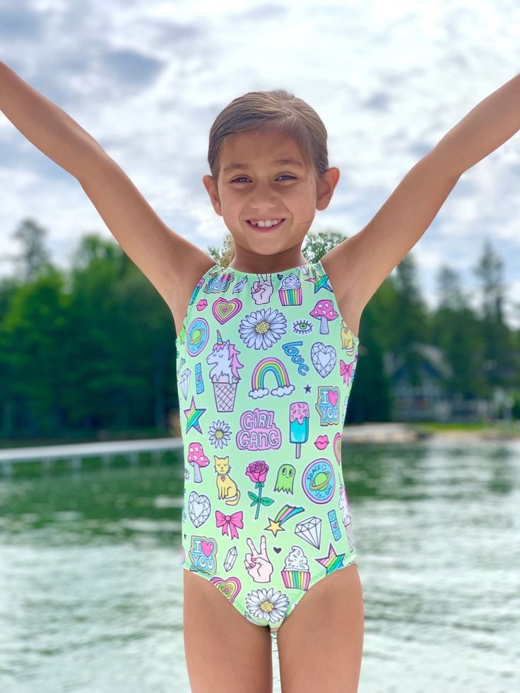 Girls Fun Girl Doodles Gymnastics Leotard   Kids swimwear ...